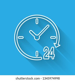 White Clock 24 hours icon isolated with long shadow. All day cyclic icon. 24 hours service symbol. Vector Illustration