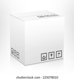 White closed carton delivery parcel packing box with fragile signs isolated on white background vector illustration