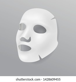 White cloth face mask, cosmetic procedures, rejuvenation, realistic vector illustration. White mask template for cosmetic product packaging isolated on white background.