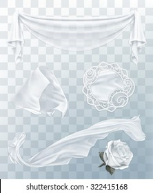 White cloth with transparency, set of vector elements