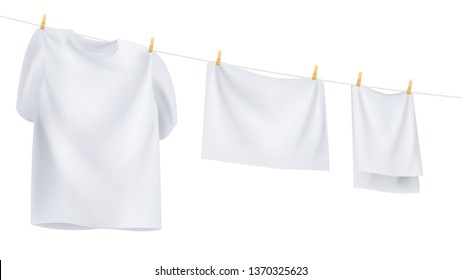 white clothes hanging on the rope. Vector illustration