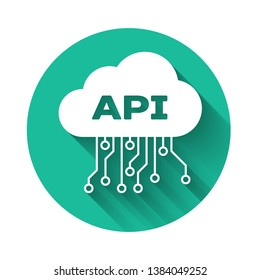 White Cloud api interface icon isolated with long shadow. Application programming interface API technology. Software integration. Green circle button. Vector Illustration