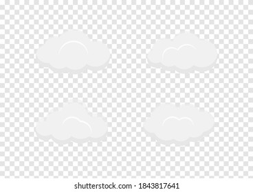 white cloud banner vector isolated on transparency background ep77