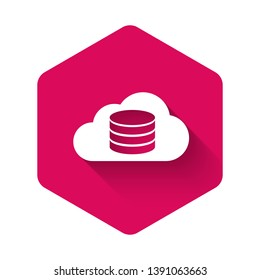White Cloud database icon isolated with long shadow. Cloud computing concept. Digital service or app with data transferring. Pink hexagon button. Vector Illustration