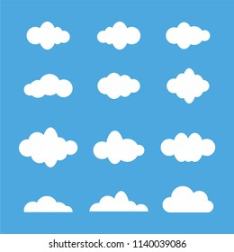 White  Cloud icon set  on blue background. vector