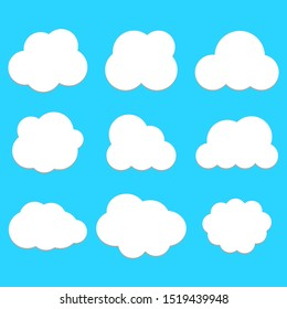 white cloud isolated on blue sky background; fluffy clouds symbol set with various simple cartoon shape for decorative website, banner or other design. vector illustration