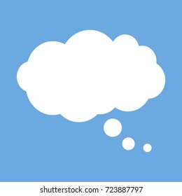 White cloud. To tell. Thoughts. Simple flat style.