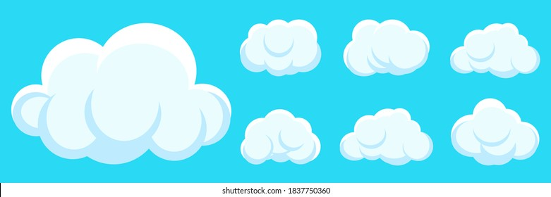 White clouds cartoon set on blue sky background. Weather symbol, different shape cloud icon for text. Fun speak air bubble, sticker template. Web cloudy service sign. Isolated vector illustration