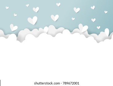 White clouds and cofetti paper hearts shape on blue background.Paper art style of valentine's day greeting card and love concept.Vector illustration.