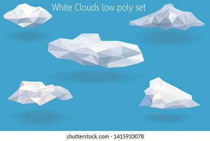 White clouds low poly set,triangle and geometric shape design,modern crystal diamond nature weather summer concept,polygon graphic,vector art and illustration.abstract sky cloudy isolated cartoon.