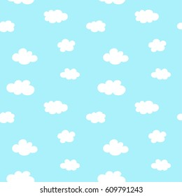 White clouds on blue background. Seamless pattern. Vector image.