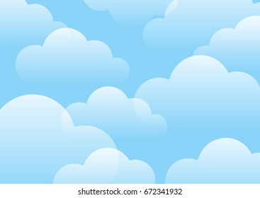 White clouds on bright blue sky background vector illustration, cartoon style. Bright blue color.