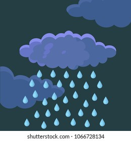 White clouds with rain isolated on sky panorama. Blue heaven. Cloudscape, atmosphere. Bad rainy weather. Vector flat illustration.