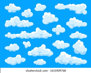 White clouds set. Abstract  blue summer sky. Simple cartoon cloud. Vector illustration.