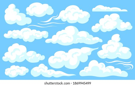 White clouds set. Blue cloudy sly, different shapes of soft clouds, heaven. Vector illustrations for atmosphere, weather, meteorology concept