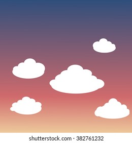 White clouds. Sunset sunrise background. Vector illustration