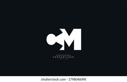 White CM Letter Business Logo Design Alphabet Icon Vector Symbol