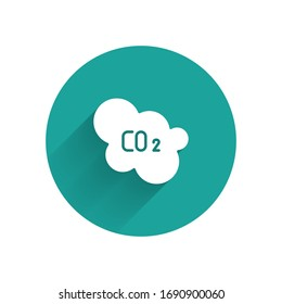 White CO2 emissions in cloud icon isolated with long shadow. Carbon dioxide formula, smog pollution concept, environment concept. Green circle button. Vector Illustration