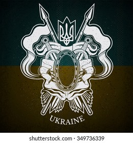 White Coat of Arms With oval Frame and Vintage Weapons on Ukraine Flag Background. Brand or T-shirt style