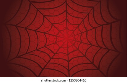 White Cobweb on Red background. Vector Spider happy halloween party day fun funny spooky logo creepy horror insect hush dia 31 october fest Spiderman hallow Webbing line pattern Unlucky Accident
