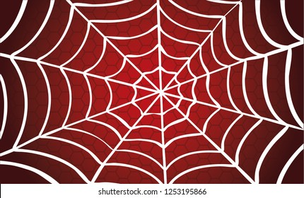 White Cobweb Red background. Vector Spider happy halloween party day fun funny spooky logo creepy horror insect hush dia 31 october fest Spiderman hallow Webbing line pattern Unlucky Accident zombie