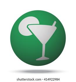 White Cocktail icon on green ball