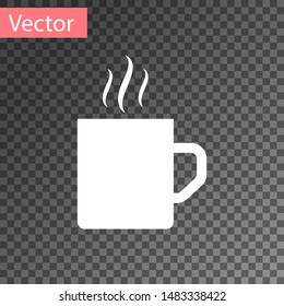 White Coffee cup flat icon isolated on transparent background. Tea cup. Hot drink coffee.  Vector Illustration