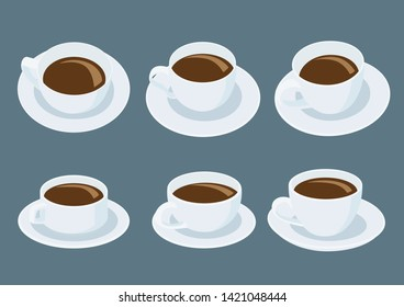White coffee cup on saucer on gray background illustration vector