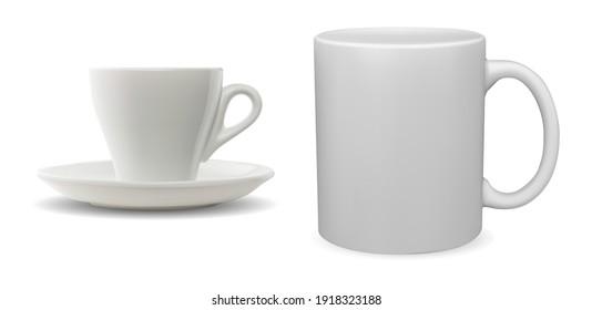 White coffee cup. Porcelain tea mug 3d blank vector. Ceramic cup template, morning drink template mockup. Cappuccino drink simple shape handle mug set