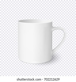 White coffee cup realistic isolated on transparent background. Vector template for Mock Up. Vector illustration