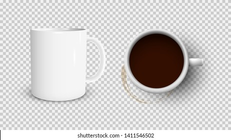 White coffee cup and white cup view from the top and coffee stain. 3d photorealistic. Vector illustration.-Vector