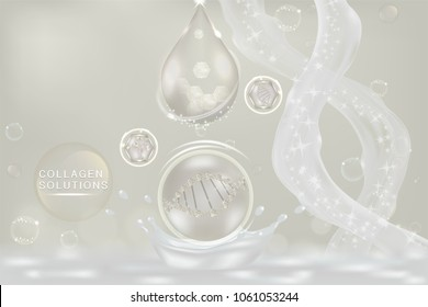 White collagen Serum drop, cosmetic advertising background ready to use, luxury hyaluronic acid skin care ad, Illustration vector.
