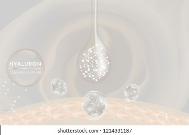 White Collagen Serum drop, cosmetic advertising background ready to use, luxury skin care ad, vector illustration.