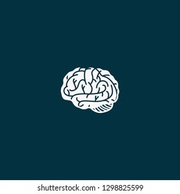 white color brain icon vector on blue background