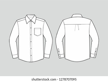 White color formal shirt with button down collar isolated on white vector