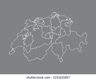 White color Switzerland map with lines of different cantons on dark background vector illustration