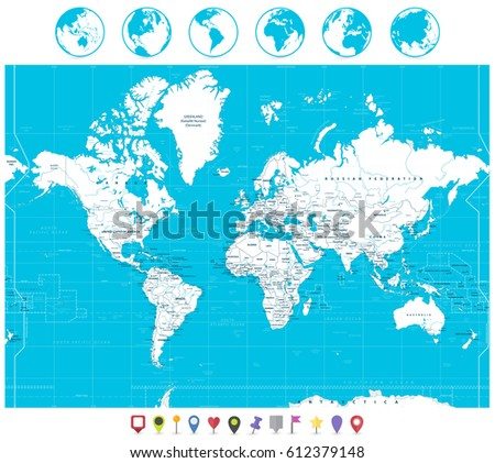 Navigation World Map.White Color World Map Navigation Icons Stock Vector Royalty Free
