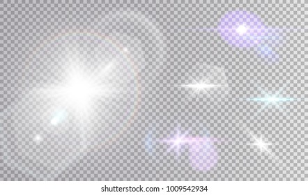 White and colored cosmic lights set. Various stars with halo and hexagonal lens flares.