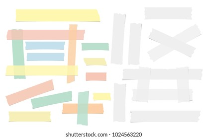White and colorful adhesive, sticky, masking, duct tape, paper pieces for text are isolated on white background.