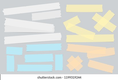 White and colorful adhesive, sticky, masking, duct tape for text on grey background