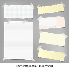 White and colorful note, notebook paper with torn edges stuck on gray background. Vector illustration.