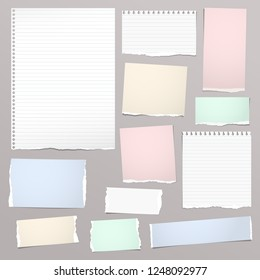 White and colorful notebook paper, lined note paper strips stuck on light background. Vector illustration