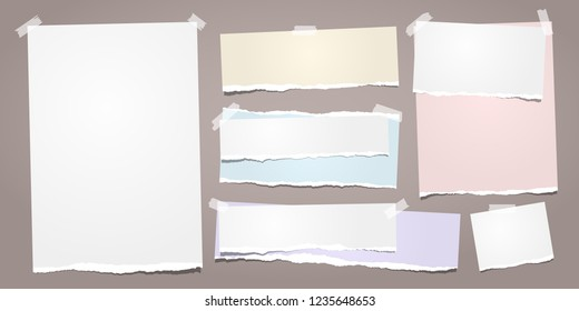 White and colorful ripped notebook paper, torn note paper strips stuck on brown background. Vector illustration