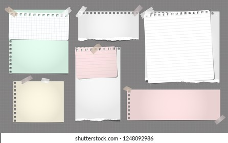 White and colorful ripped notebook paper, torn lined note paper strips stuck on brown background. Vector illustration