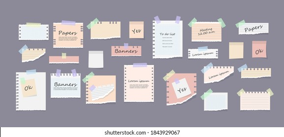 White and colorful striped note, copybook, notebook sheet. Paper notes on stickers, notepads and memo messages torn paper sheets. Office and school stationery, memo stickers. Vector illustration.