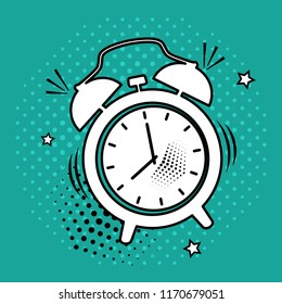 White comic alarm clock icon on green background in pop art style. Vector illustration