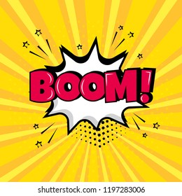 White comic bubble with BOOM! word on yellow background. Comic sound effects in pop art style. Vector illustration.