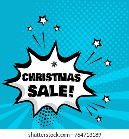 White comic bubble with CHRISTMAS SALE word on blue background. Comic sound effects in pop art style. Vector illustration.