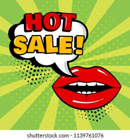 White comic bubble with HOT SALE word and red lips on green background. Card in pop art style. Vector illustration