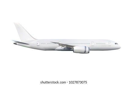White commercial four engines airplane on isolate on white background in vector style